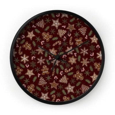 Iveta Abolina Gingerbread Cookies Red Round Clock