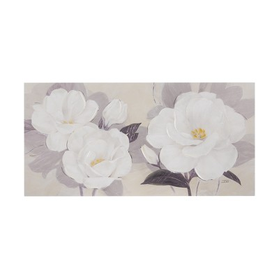 Midday Bloom Florals Paint Embellished Unframed Wall Canvas White