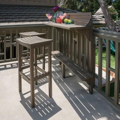 3pc Caribbean Acacia Wood Patio Bar Set - Christopher Knight Home