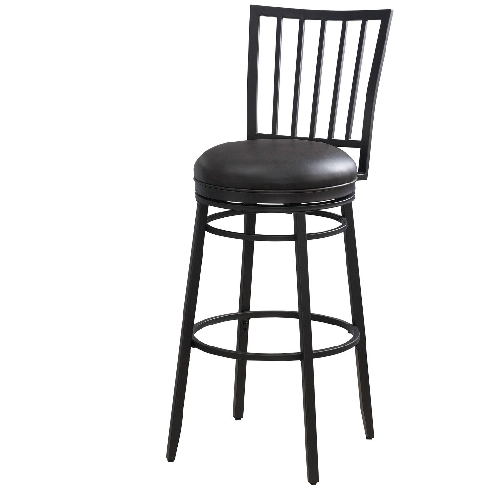 "Image of ""30"""" Easton Stool Tobacco Upholstery Black - American Heritage Billiards"""