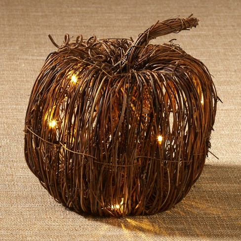 Lakeside Rattan Lighted Pumpkin - Harvest Halloween Decor for Tabletops, Mantles - image 1 of 2
