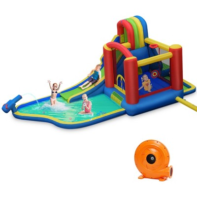 Costway Inflatable Kid Bounce House Slide Climbing Splash Pool Jumping Castle