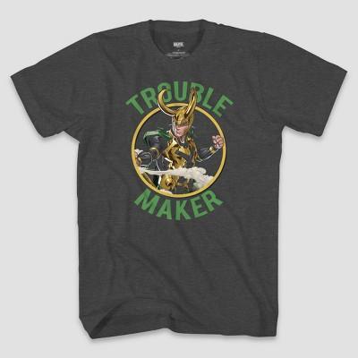 Men's Marvel Loki Trouble Maker Short Sleeve Graphic T-Shirt - Heather Gray