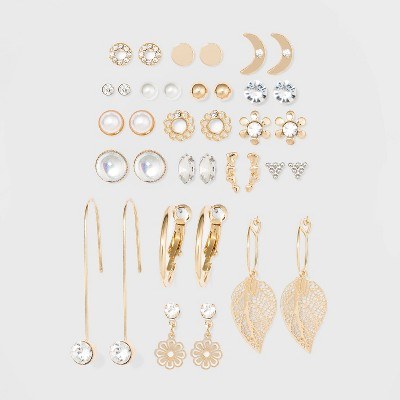 Acrylic Stones Multi Hoops Earring Set 18pc - Wild Fable™