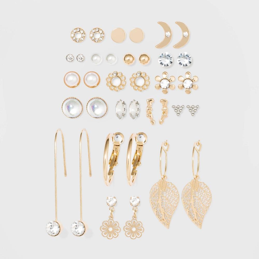 Image of Acrylic Stones Multi Hoops Earrings - Wild Fable , Women's, Clear