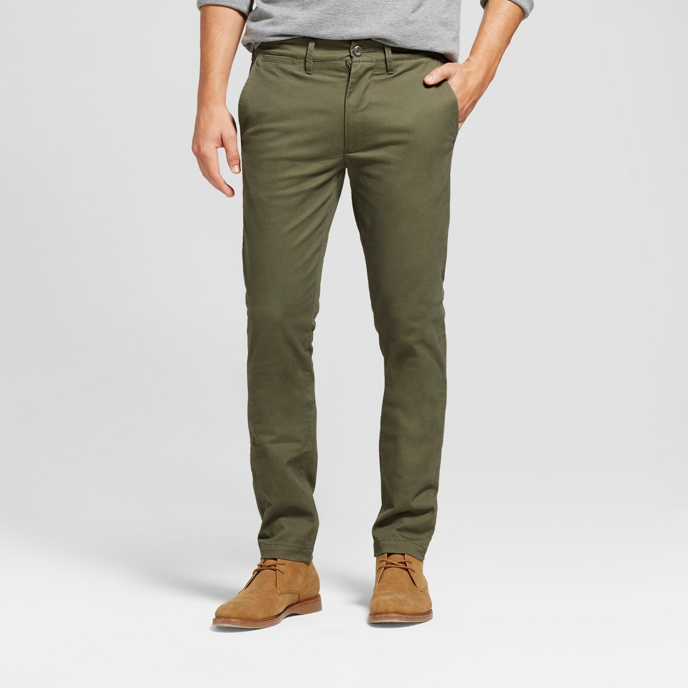 Men's Skinny Fit Hennepin Chino Pants - Goodfellow & Co Olive 38x34, Green