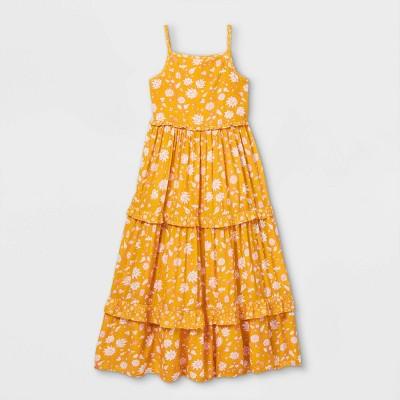 Girls' Tiered Woven Maxi Sleeveless Dress - Cat & Jack™ Yellow