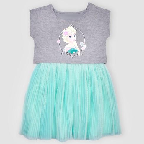 877383856e3 Toddler Girls  Disney Frozen Elsa A-line Dress - Gray Blue 2T   Target