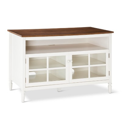 Isabella Glass Door with Open Shelf TV Stand 47  White