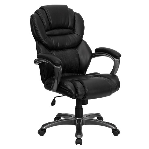 Executive Swivel Office Chair Black Leather - Flash Furniture - image 1 of 4
