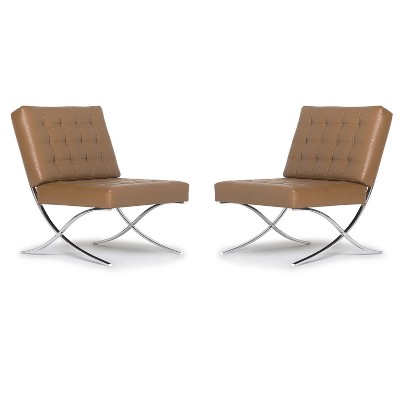 Studio Designs Modern Bonded Leather Armless Atrium Accent Decor Lounge Chair Furniture for Home Living Room, Bedroom, or Office (2 Pack)
