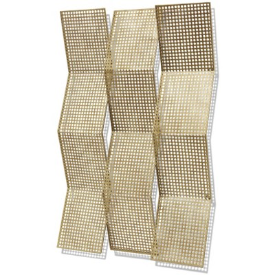 Metal Fanned Wall Sculpture with Folded Aerated Design Gold - StyleCraft