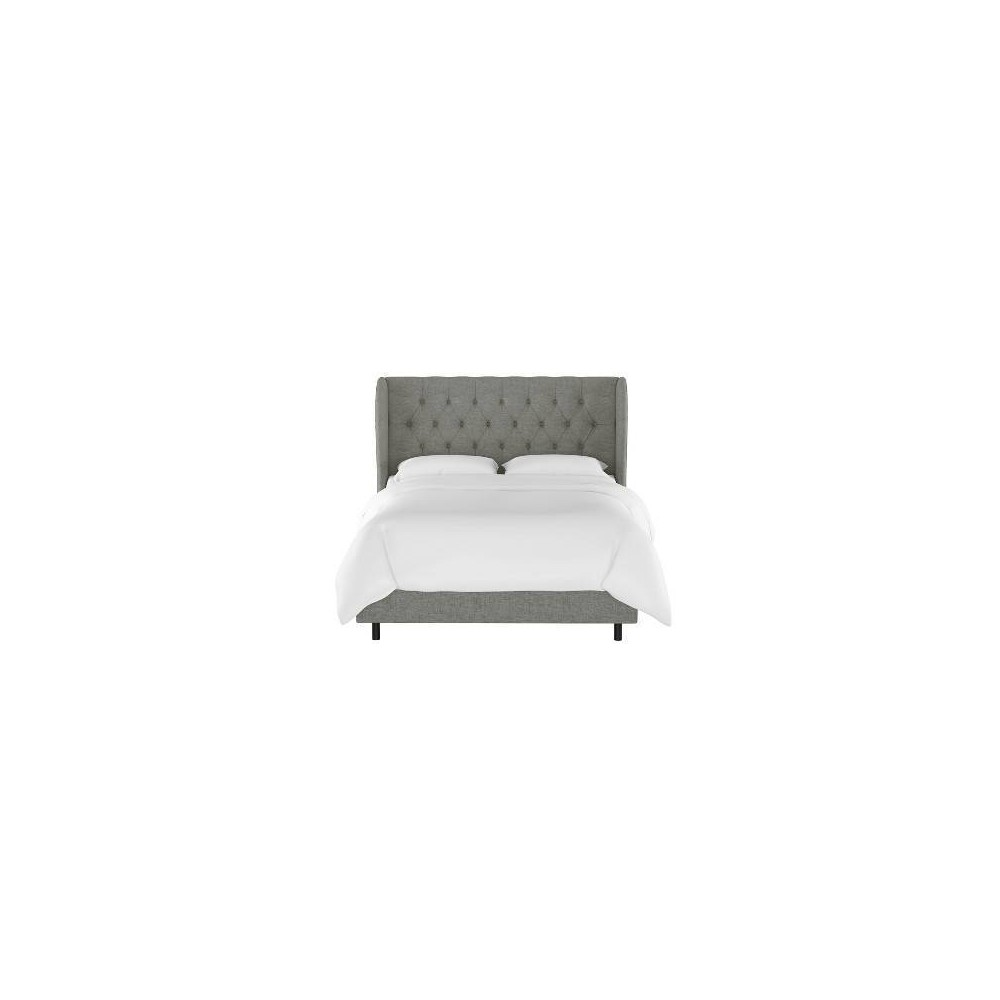 California King Tufted Wingback Bed Charcoal Linen - Threshold