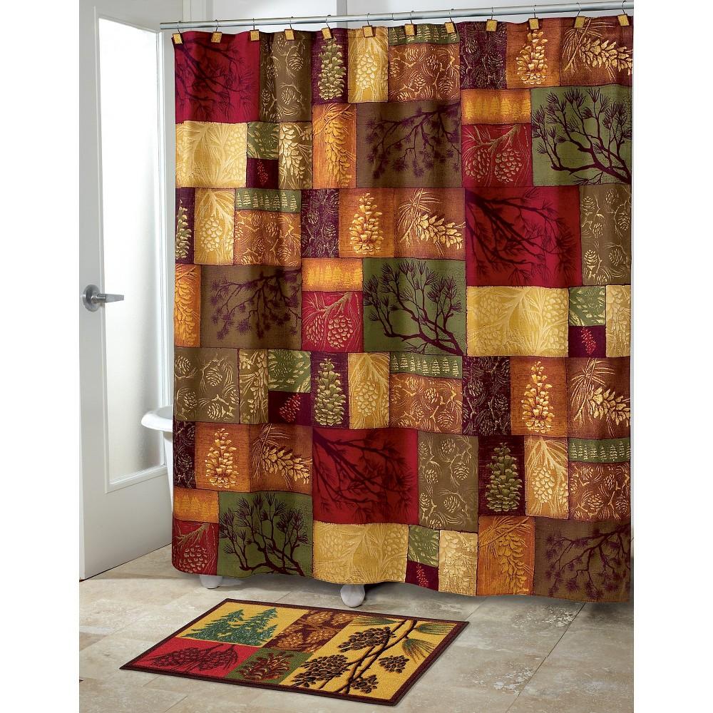Image of Adirondack Pine Shower Curtain Green/Gold - Avanti, Multi-Colored