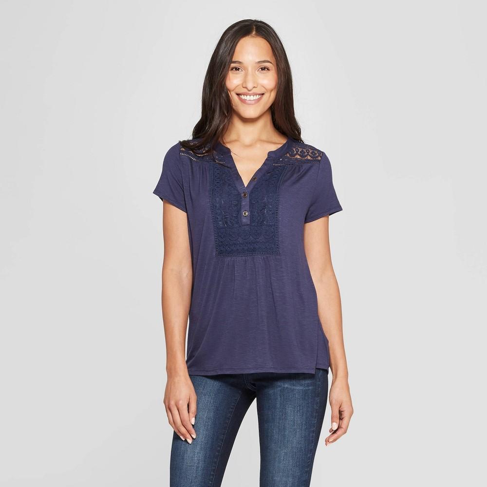 Women's Short Sleeve Henley Shirt - Knox Rose Navy L, Blue