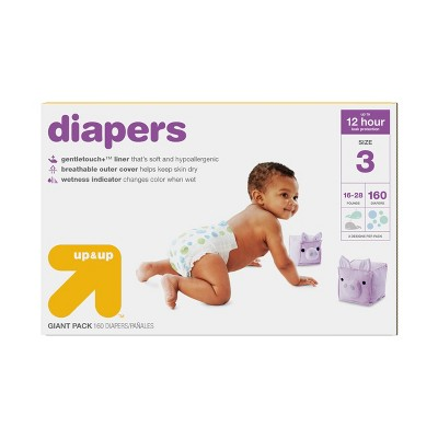 Diapers Giant Pack Size 3 - 160ct - Up&Up™