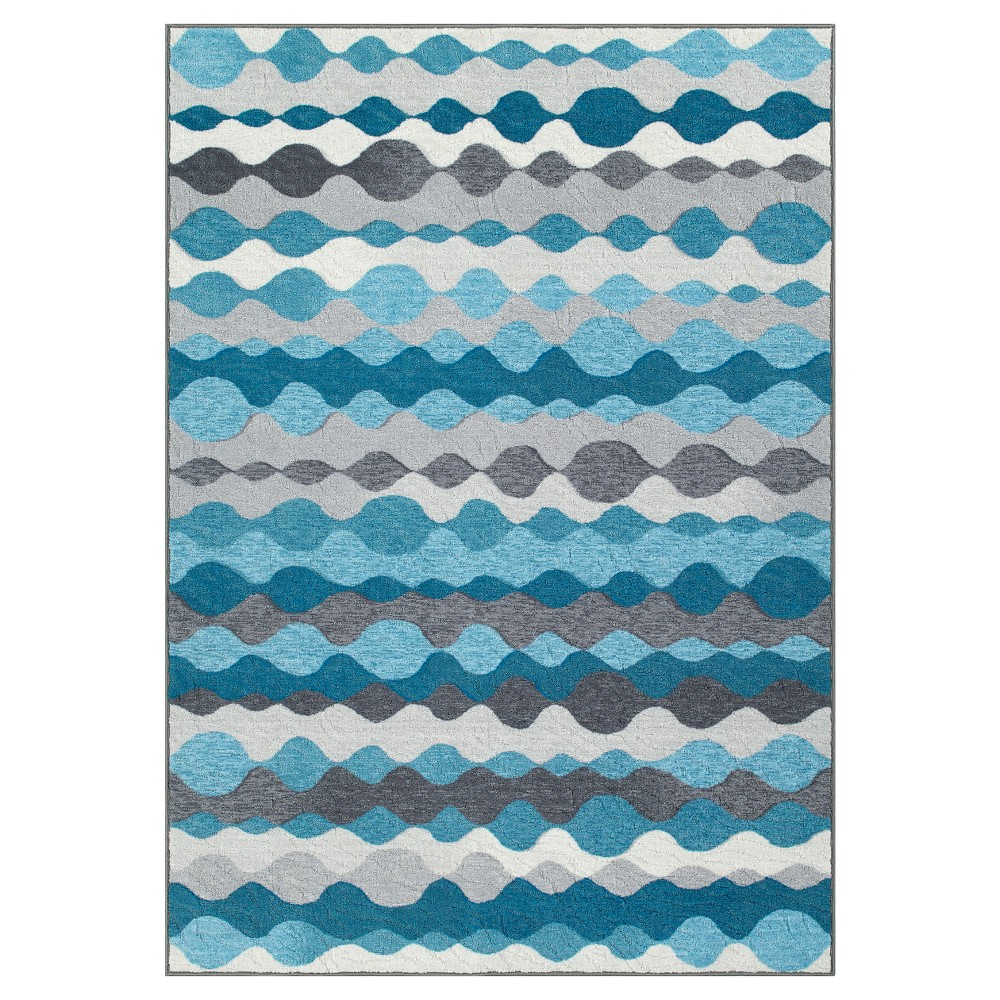 Blue Gray Wave Woven Area Rug 8'X10'