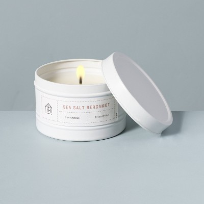 5.1oz Sea Salt Bergamot Lidded Tinplate Seasonal Candle - Hearth & Hand™ with Magnolia