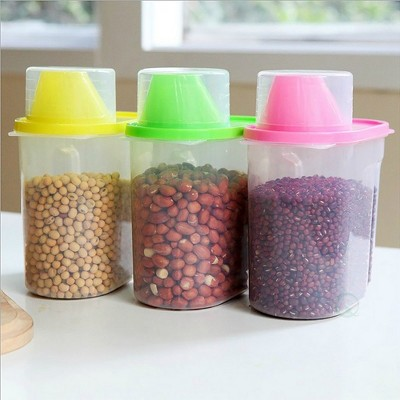 "Basicwise ""Small BPA-Free Plastic Food Saver, Kitchen Food Cereal Storage Containers with Graduated Cap, Set of 3"""