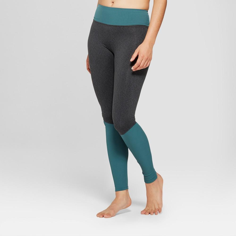 Women's Comfort Yoga Mid-Rise Ribbed Leggings 31 - JoyLab Charcoal Gray Heather/Mediterranean Teal L, Charcoal Grey Heather