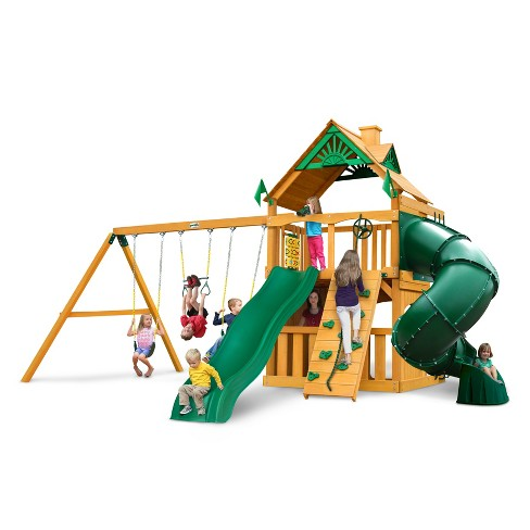 Gorilla Playsets Mountaineer Clubhouse Swing Set with Amber Posts - image 1 of 3