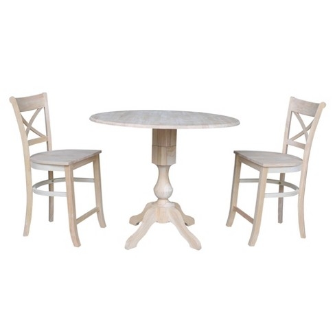"""36.3"""" Kendra Round Counter Height Table with Two Charlotte Stools Blue - International Concepts - image 1 of 4"""