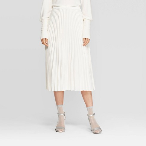 Women's Relaxed Fit High-Rise Pleated Midi Skirt - A New Day™ Cream XXL - image 1 of 3