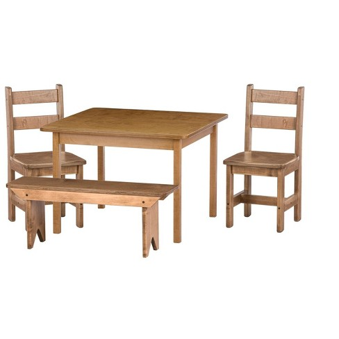 Cool Remley Kids Wooden Square Table With 2 Chairs And 1 Bench Dining Playset Ships Assembled Gmtry Best Dining Table And Chair Ideas Images Gmtryco