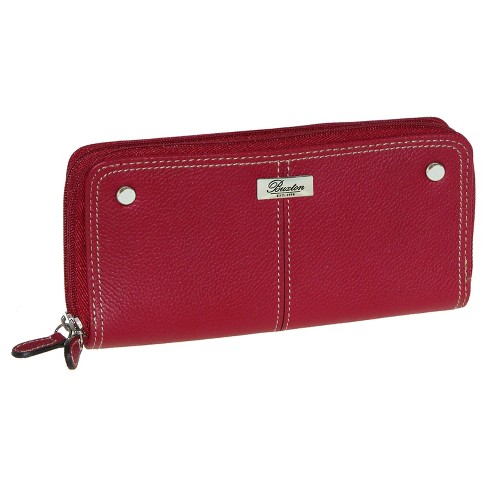 Buxton Women's Slim Double Zip Wallet - Red - image 1 of 1