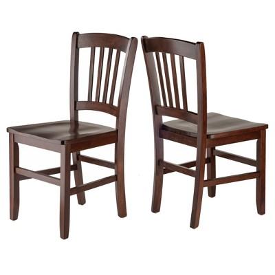 Madison Slat Back Chairs (Set Of 2)   Walnut   Winsome : Target