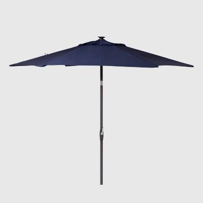 9' Round Solar Patio Umbrella Navy - Black Pole - Threshold™