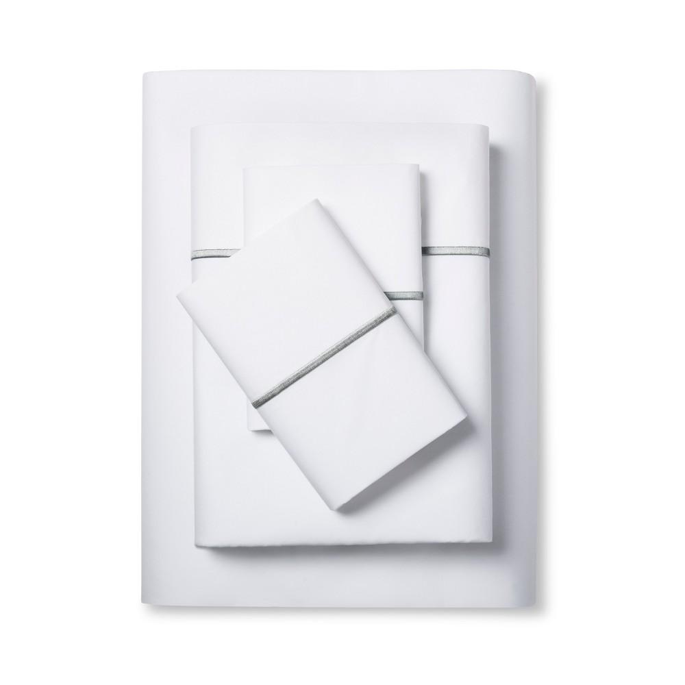 Hotel Supima Satin Stitch Sheet Set (Full) Skyline Gray 300 Thread Count - Fieldcrest