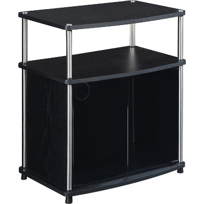 TV Stand with Black Glass Cabinet Black - Breighton Home