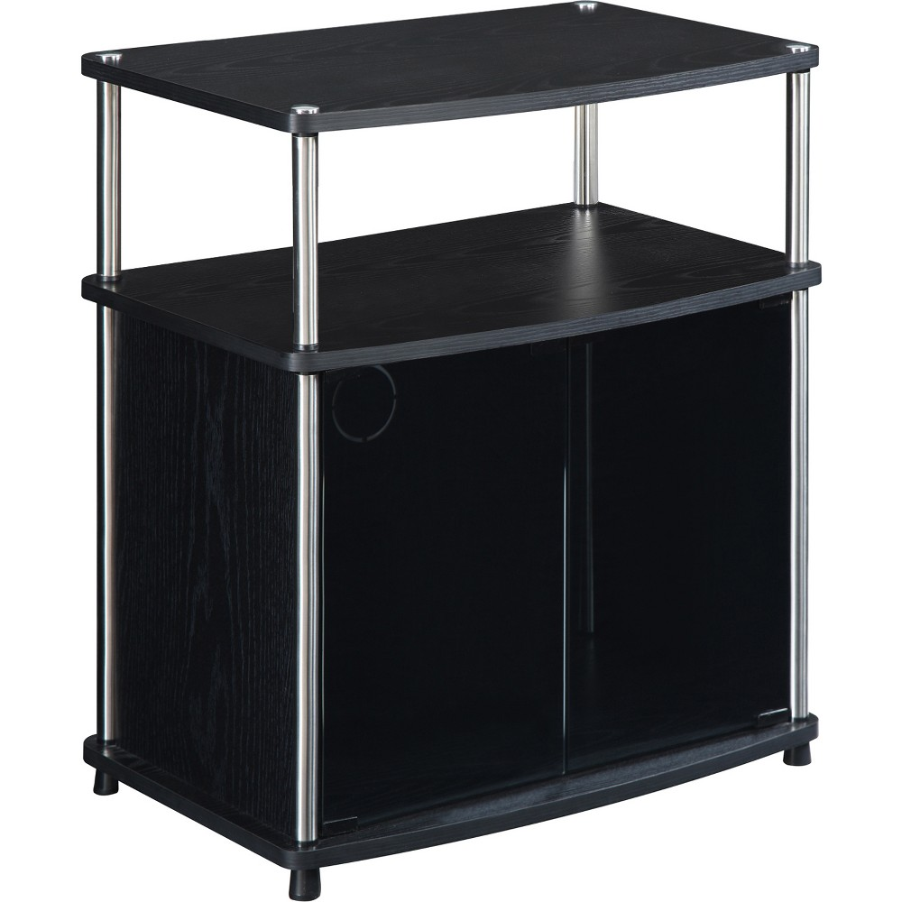 "Image of ""24"""" TV Stand with Glass Doors Black - Johar Furniture"""