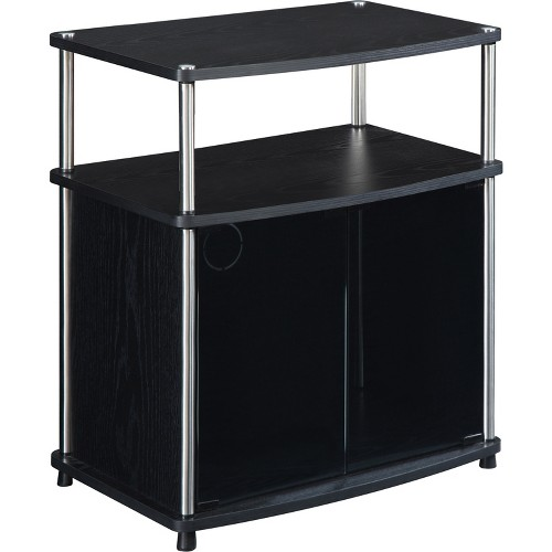 'TV Stand with Glass Doors Black 24'' - Convenience Concepts'