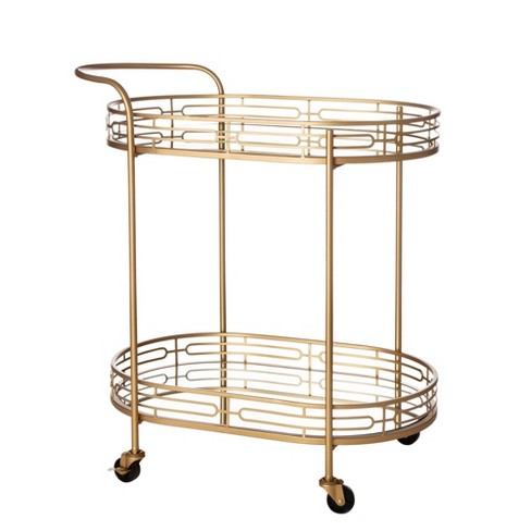 Deluxe Metal Oval Mirrored Bar Cart Gold - Glitzhome - image 1 of 4