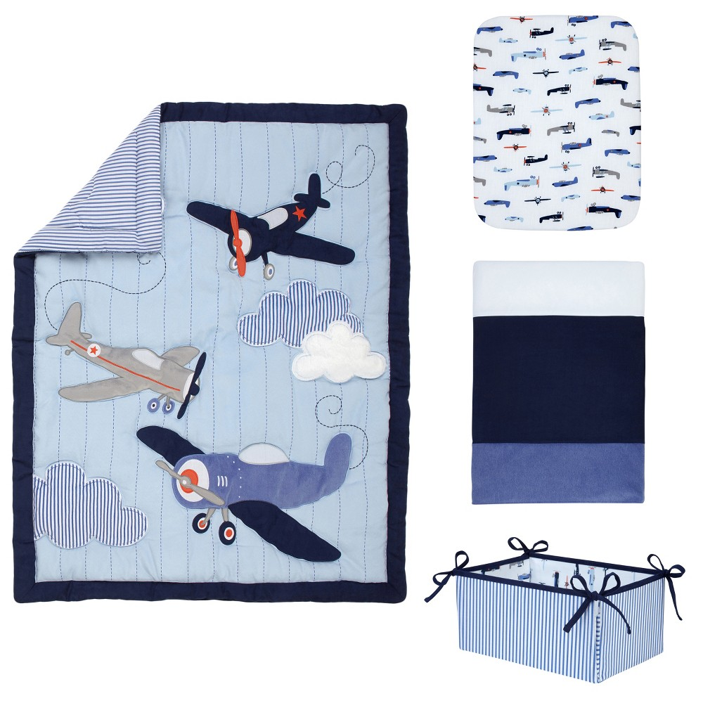 Carter's Take Flight 4 Piece Nursery Crib Bedding Set (Comforter, Crib Sheet, Dust Ruffle & Diaper Stacker), Blue
