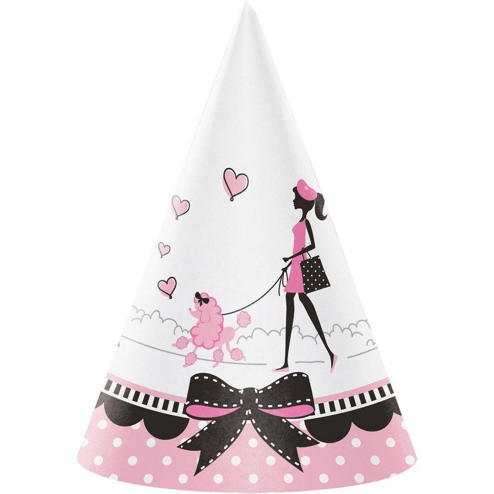 Image of 24ct Party in Paris Hats Pink, Girl's, White Pink Black
