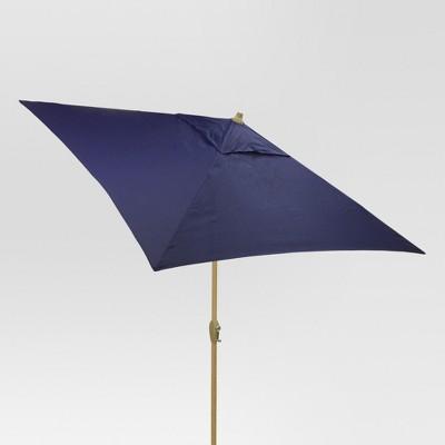 6.5' Square Umbrella - Navy - Light Wood Finish - Threshold™