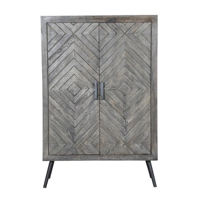 """47"""" Chevron Pattern 2 Door Wooden Storage Console Cabinet with Angled Metal Legs Gray - The Urban Port"""