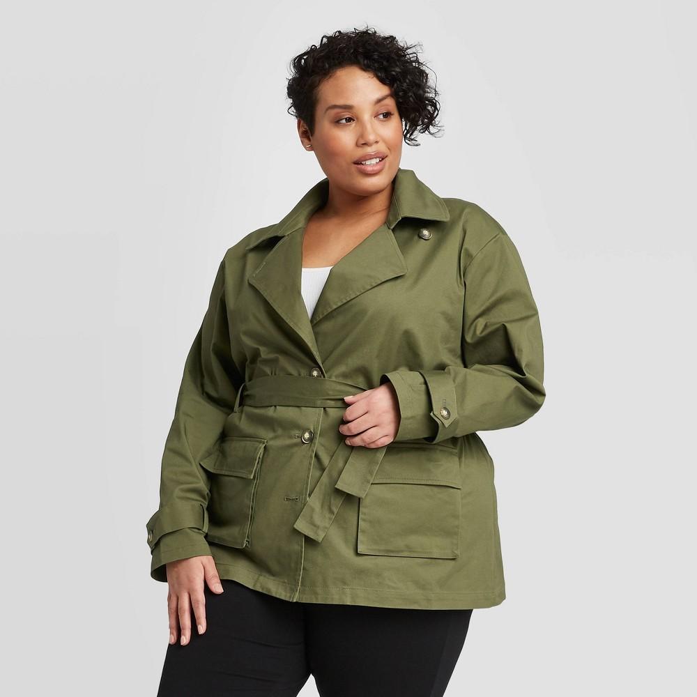Women's Plus Size Long Sleeve Blazer Utility Jacket - Ava & Viv Green 3X, Women's, Size: 3XL was $39.99 now $27.99 (30.0% off)