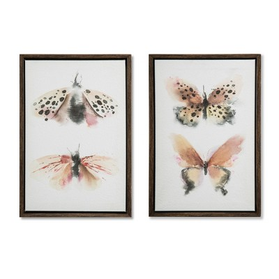 Set of 2 12 x8  Moth & Butterfly Framed Parchment Decorative Wall Art - Threshold™