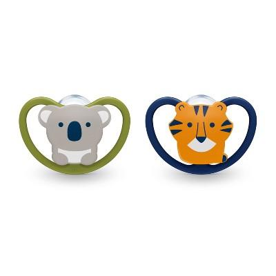 NUK Space Orthodontic Pacifier 0-6 Months - Koala/Lion - 2pk