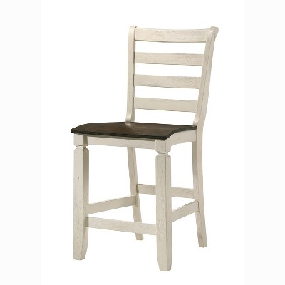 ACME Furniture 77183 Tasnim Wooden Counter Height Slat Back Casual Kitchen Dining Chair with Contoured Seat, Antique White/Oak