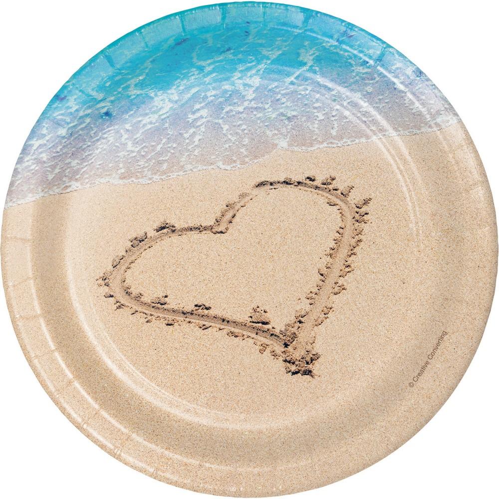 Image of 24ct Beach Love Dessert Plates Tan