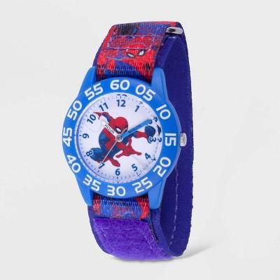 Kids' Marvel Spider-Man Plastic Time Teacher Hook and Loop Strap Watch - Blue