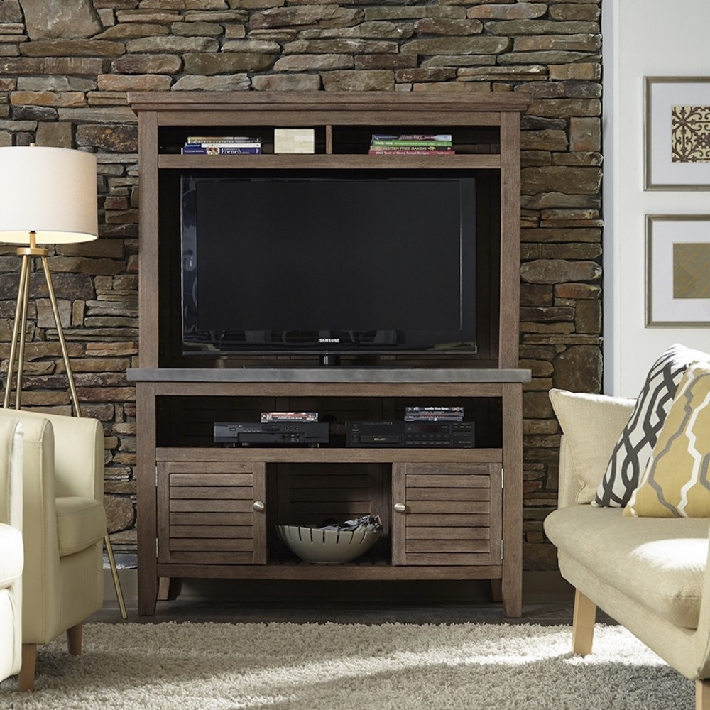 Concrete Chic TV Credenza Stand with Hutch - Weathered - Home Styles, Gray