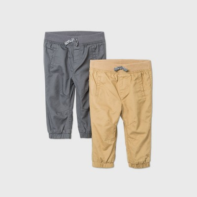 Baby Boys' 2pk Woven Chino Pants - Cat & Jack™ Gray/Khaki 3-6M
