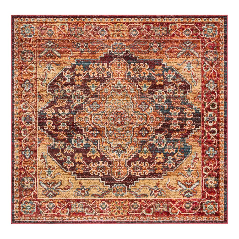 Ruby/Gold Medallion Loomed Square Area Rug 7'X7' - Safavieh, Rubyngold