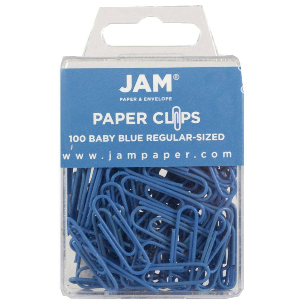 Jam Paper 1 100pk Colorful Standard Paper Clips - Regular - Light Blue Jam Paper 1 100pk Colorful Standard Paper Clips - Regular - Light Blue